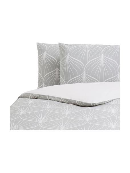 Parure copripiumino in cotone Rama, Cotone, Fronte: grigio, bianco Retro: bianco, 250 x 200 cm