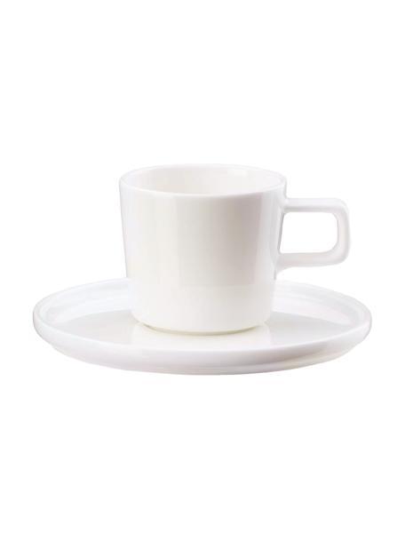Tazas con platitos Oco, 6uds., Porcelana Fine Bone China (fina de hueso) Fine Bone China es una pasta de porcelana fosfática que se caracteriza por su brillo radiante y translúcido., Marfil, Ø 6 x Al 7 cm