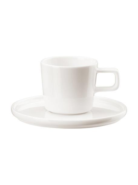 Tazas de café con platitos Oco, 6uds., Porcelana Fine Bone China (fina de hueso) Fine Bone China es una pasta de porcelana fosfática que se caracteriza por su brillo radiante y translúcido., Marfil, Ø 6 x Al 7 cm