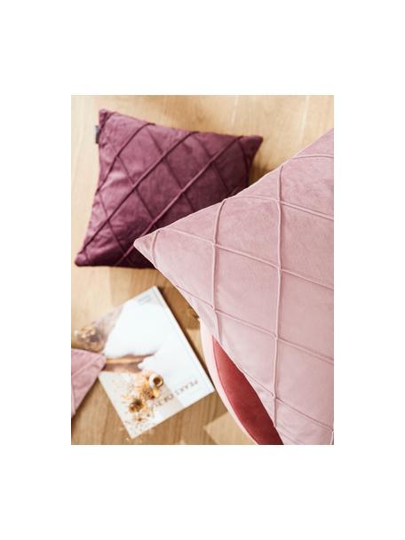 Fluwelen kussenhoes Nobless in wijnrood met verhoogd ruitjesmotief, 100% polyester fluweel, Wijnrood, 40 x 40 cm