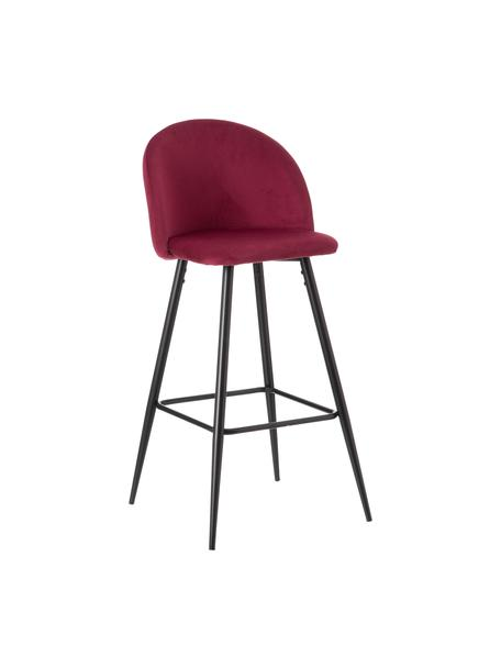 Taburete alto con respaldo Maxine, Tapizado: 100%poliéster, Patas: metal recubierto, Borgoña, negro, An 48 x Al 102 cm