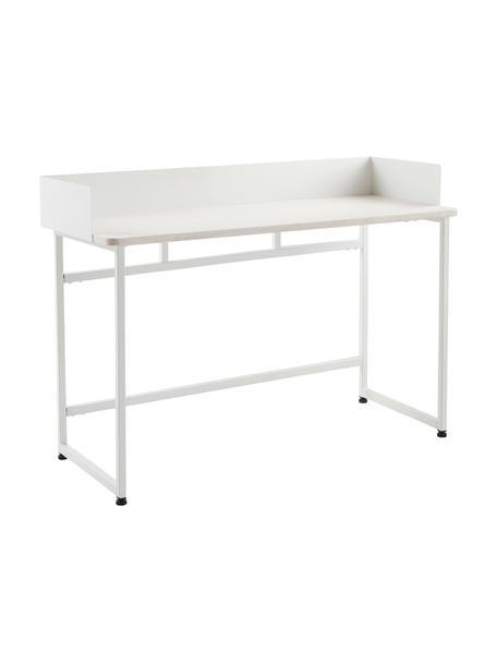 Smal bureau Liberty in wit, Tafelblad: MDF met essenhoutfineer, Frame: gecoat metaal, Rand: gecoat metaal, Wit, 110 x 45 cm