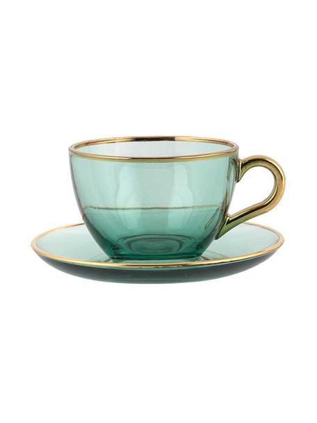Handgemaakte kopjes Allure met schoteltjes en gouden rand, 2 stuks, Glas, Groen, goudkleurig, Ø 9 x H 6 cm