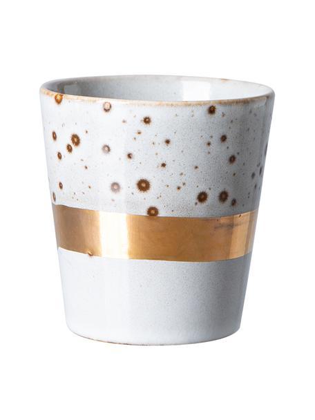 Handgemachter Becher 70's mit goldenem Dekor, Steingut, Weiß, Goldfarben, Ø 8 x H 8 cm