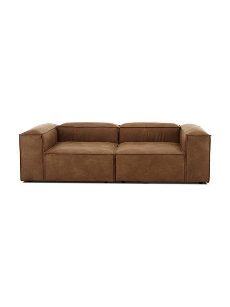 Modulares Sofa Lennon (3-Sitzer) in Braun aus recyceltem Leder, Bezug: Recyceltes Leder (70% Led, Gestell: Massives Kiefernholz, Spe, Füße: Kunststoff Die Füße befin, Leder Braun, B 238 x T 119 cm