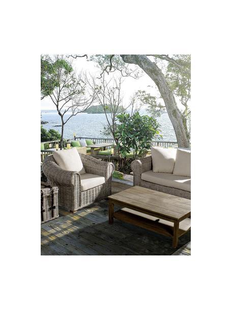 Sillón para exterior Coba, Estructura: ratán, trenzado de kubu, , Patas: madera de mango, Gris, blanco, An 100 x Al 80 cm