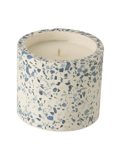 Duftkerze Terrazzo, Behälter: Steingut, Cremefarben, Blau, Ø 11 x H 9 cm