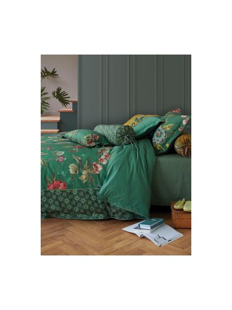 Baumwollperkal-Wendebettwäsche Poppy Stitch, floral/gemustert, Webart: Perkal Fadendichte 200 TC, Grün, Mehrfarbig, 135 x 200 cm + 1 Kissen 80 x 80 cm