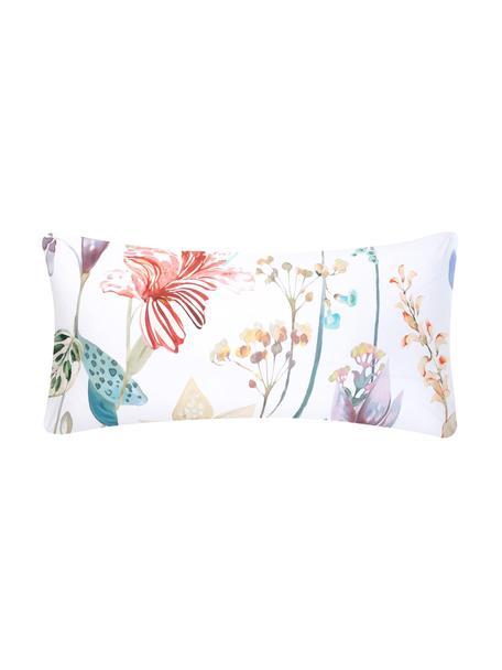 Baumwollperkal-Kissenbezüge Meadow mit Aquarell Blumen-Muster, 2 Stück, Webart: Perkal Fadendichte 180 TC, Mehrfarbig, Weiß, 40 x 80 cm