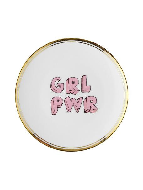 Piatto colazione in porcellana con scritta e bordo dorato Grl Pwr, Porcellana, Bianco, rosa, dorato, Ø 17 cm