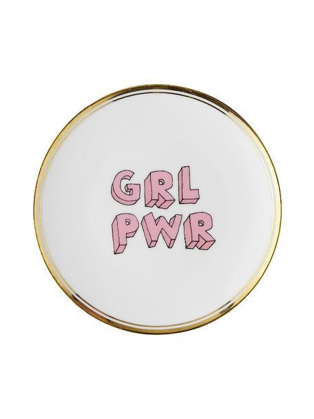 Porzellan-Frühstücksteller Grl Pwr mit Aufschrift und Goldrand, Porzellan, Weiss, Rosa, Goldfarben, Ø 17 cm
