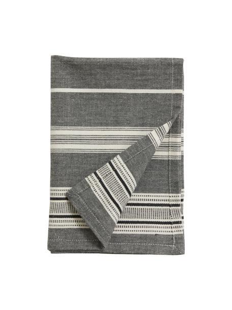 Strofinaccio a righe Orio 2 pz, 100% cotone, Bianco, nero, Larg. 52 x Lung. 72 cm