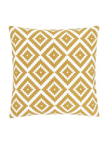 Kussenhoes Miami met grafisch patroon, 100% katoen, Geel, 45 x 45 cm