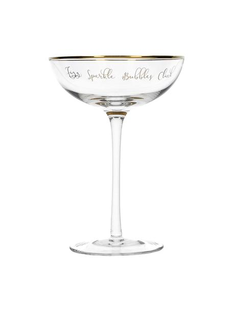 Champagneglazen Fizz met tekst, 2 stuks, Glas, Transparant, goudkleurig, Ø 12 x H 18 cm