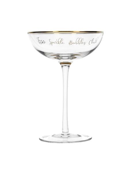 Copas pompadour de champánFizz Sparkle Pop Clink, 2uds., Vidrio, Transparente, dorado, Ø 12 x Al 18 cm