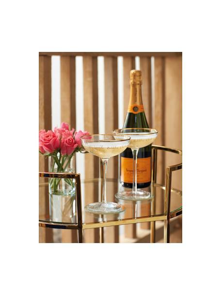 Champagnerschalen Fizz mit goldener Aufschrift, 2 Stück, Glas, Transparent, Goldfarben, Ø 12 x H 18 cm
