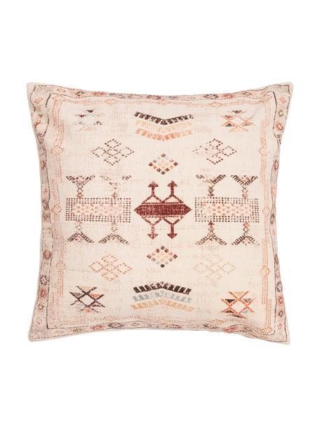 Funda de cojín Tanger, estilo étnico, 100%algodón, Beige, tonos de rojo, An 45 x L 45 cm