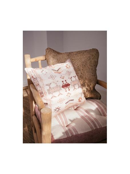 Federa arredo con motivo etnico beige/rosso Tanger, 100% cotone, Beige, tonalità rosse, Larg. 45 x Lung. 45 cm