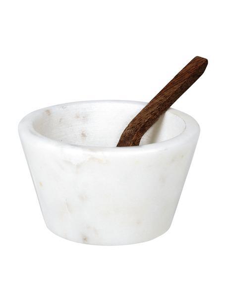 Marmeren zoutkom Marble, Lepel: sheeshamhout, Wit gemarmerd, sheeshamhout, Ø 7 x H 4 cm