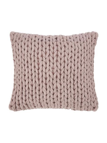 Ręcznie wykonana poszewka na poduszkę z grubej dzianiny Adyna, 100% poliakryl, Blady różowy, S 45 x D 45 cm