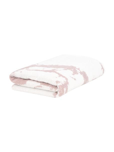 Asciugamano con motivo effetto marmo Malin, Rosa, bianco crema, Asciugamano per ospiti