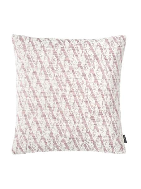 Kussenhoes Illinois in roze/wit met grafisch patroon, 45% polyacryl, 34% polyester, 21% polypropyleen, Roze, wit, 40 x 40 cm