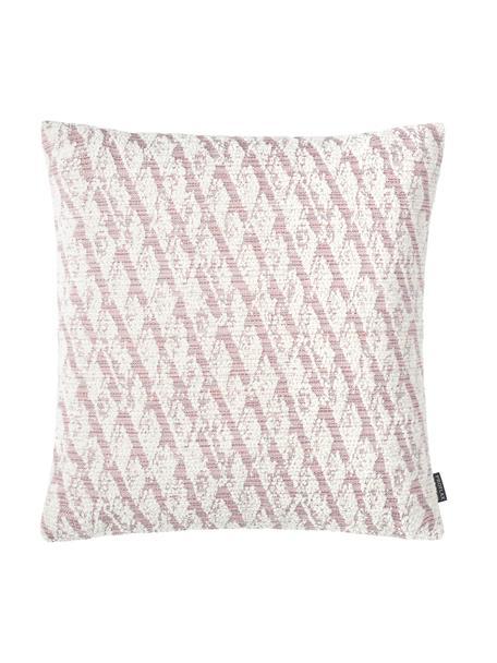 Poszewka na poduszkę Illinois, 45% poliakryl, 34% poliester, 21% polipropylen, Blady różowy, biały, S 40 x D 40 cm