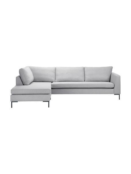 Sofa narożna z metalowymi nogami Luna, Tapicerka: 100% poliester Dzięki tka, Stelaż: lite drewno bukowe, Nogi: metal galwanizowany, Jasny szary, S 280 x G 184 cm