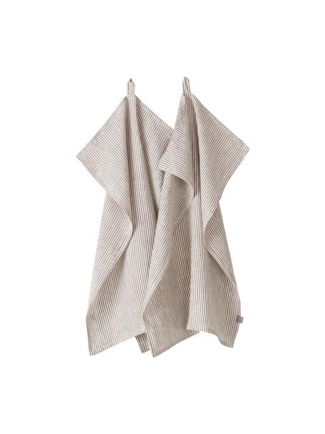 Gestreifte Leinen-Geschirrtücher Alina in Grau/Cremeweiß, 2 Stück, 100% Leinen, European Flax zertifiziert, Grau, Cremeweiß, 50 x 70 cm