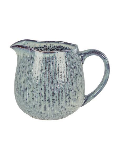 Ręcznie wykonany dzbanek do mleka z kamionki Nordic Sea, 300 ml, Kamionka, Odcienie szarego, odcienie niebieskiego, Ø 12 x W 9 cm