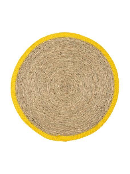 Ronde placemats van zeegras Boho met gele rand, 2 stuks, Zeegras, Beige, geel, Ø 35 cm