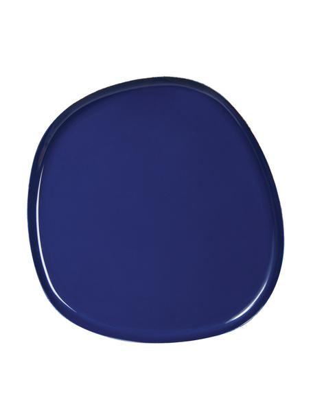 Bandeja decorativa de metal Imperfect, Metal recubierto, Azul oscuro, L 13 x An 13 cm