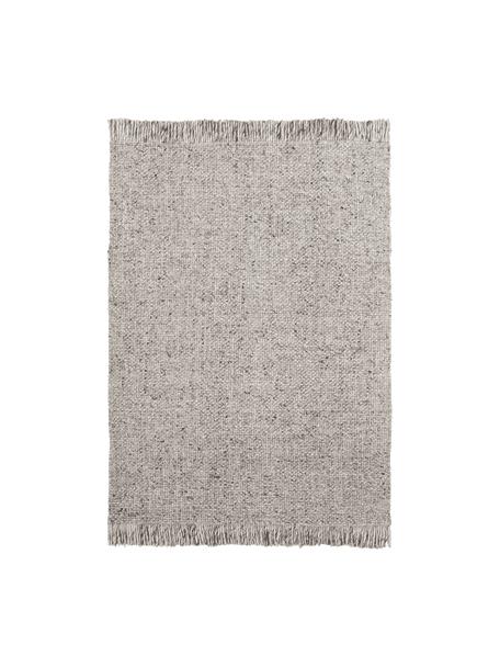 Alfombra artesanal de lana con flecos Eskil, Parte superior: 60%lana, 40%viscosa, Reverso: algodón, Gris jaspeado, An 80 x L 150 cm (Tamaño XS)