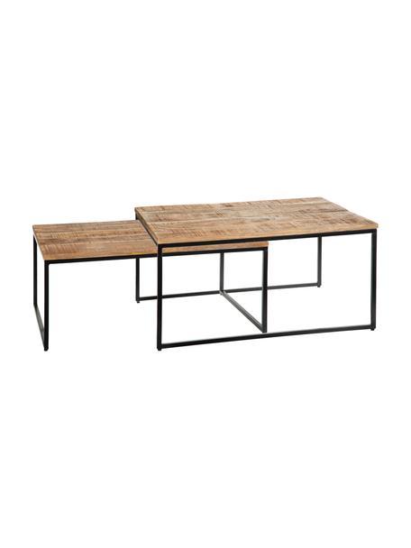 Houten salontafelset Kentin met metalen frame, 2-delig, Tafelblad: mangohout, Frame: gelakt metaal, Bruin, Set met verschillende formaten