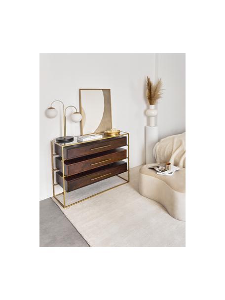 Cassettiera con piano in vetro Lyle, Mensola: vetro, Marrone scuro, dorato, Larg. 100 x Alt. 82 cm