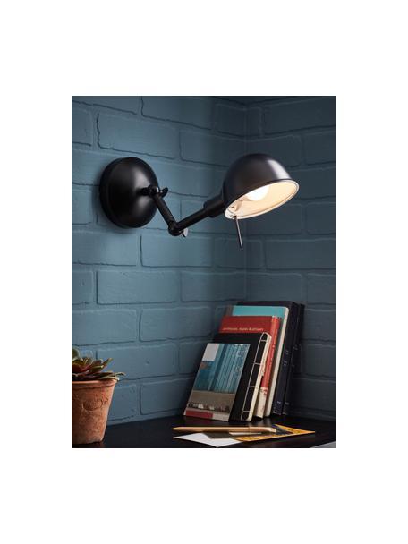 Verstelbare retro wandlamp Vitali, Lampenkap: gecoat metaal, Frame: gecoat metaal, Zwart, Ø 12 x D 29 cm