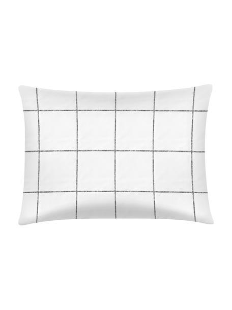 Funda de almohada de percal Juna, 50x70cm, Blanco, negro, An 50 x L 70 cm