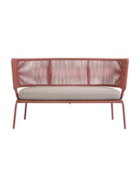 Tuin loungebank Nadin (2-zits), Frame: verzinkt metaal en gelakt, Bekleding: polyester, Roze, 135 x 65 cm