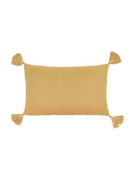 Funda de cojín con borlas Lori, 100%algodón, Amarillo, An 30 x L 50 cm