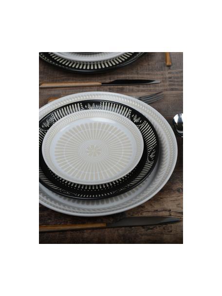 Porseleinen ontbijtborden Sonia met verhoogd patroon aan de binnenzijde, 2 stuks, Porselein, Wit, Ø 16 cm