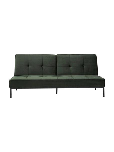 Sofá cama de terciopelo Perugia, plegable, Tapizado: poliéster Alta resistenci, Patas: metal pintado, Terciopelo verde, An 198 x F 95 cm