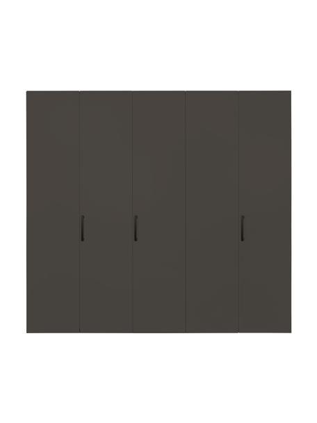 Kledingkast Madison in grijs, 5 deuren, Frame: panelen op houtbasis, gel, Grijs, 252 x 230 cm