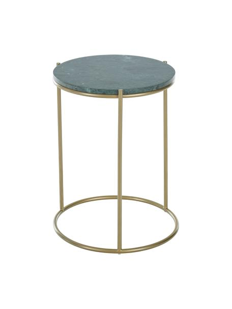 Ronde marmeren bijzettafel Ella, Tafelblad: marmer, Frame: gepoedercoat metaal, Tafelblad: groen marmer Frame: mat goudkleurig, Ø 40 x H 50 cm