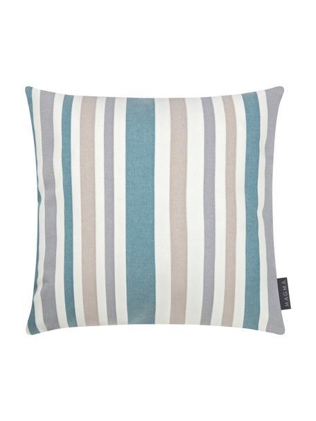 Federa arredo da interno-esterno a righe Marbella, 100% Dralon® poliacrilico, Blu, bianco, beige, grigio, Larg. 40 x Lung. 40 cm