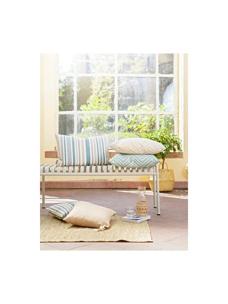 Gestreepte outdoor kussenhoes Marbella, 100% Dralon® polyacryl, Blauw, wit, beige, grijs, 40 x 40 cm