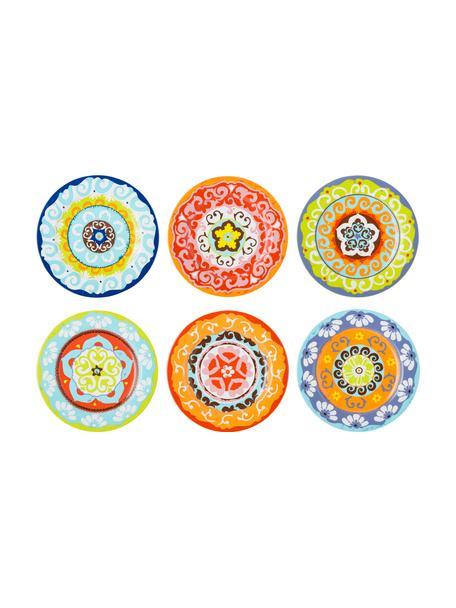 Set 6 piatti piani fantasia colorata Nador, Gres, Multicolore, Ø 27 cm
