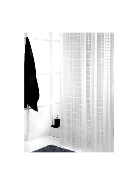 Cortina de baño corta Porto, semitransparente, Blanco, gris, An 180 x L 180 cm