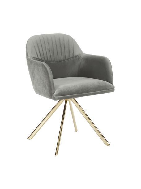 Aksamitne krzesło obrotowe z podłokietnikami Lola, Tapicerka: aksamit poliestrowy Dzięk, Nogi: metal galwanizowany, Aksamitny szary kamienny, złoty, S 55 x G 52 cm