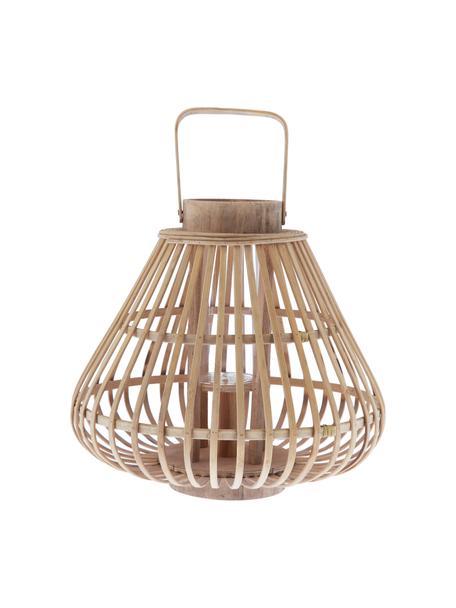 Lanterna Sahara, Bambù, Corpo: legno di bambù Inserto in vetro: trasparente, Ø 32 x Alt. 28 cm