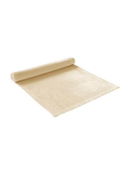 Camino de mesa de terciopelo Simone, 100%terciopelo de poliéster, Amarillo claro, An 40 x L 140 cm